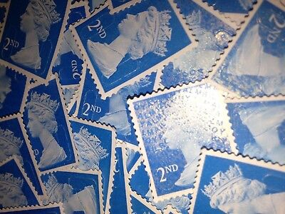 250 x 2nd CLASS STAMPS BLUE SECURITY UNFRANKED OFF PAPER NO GUM.  BEST PRICE