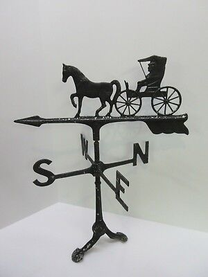 Vintage Horse & Buggy Direction Arrow Cast Metal Country Farm House Weather Vane