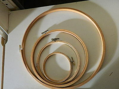 """4 wood embroidery hoops, 12"""", 8"""", 6"""" & 4"""""""