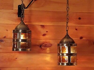 Vtg/Antique Virden Mideival Gothic Castle Ceiling Light Fixtures Set 2