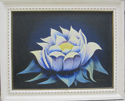 FRANK DORLAND Unique Wax Lotus Flower Original Oil Painting Midcentury 1940s COA