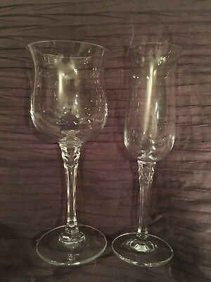 Four Vintage Tulip Crystal Cut Glass Champagne Flutes  + Wine Glasses