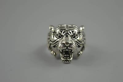 China Collectable Old Miao Silver Hand Carve Exorcism Lion Head Art Usable Ring