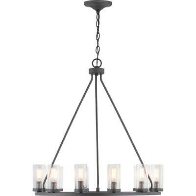 Progress Lighting Hartwell 12-Light Graphite Chandelier with Antique Nickel Acce