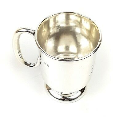 ANTIQUE ART DECO English SOLID STERLING SILVER CHRISTENING CUP MUG 1932