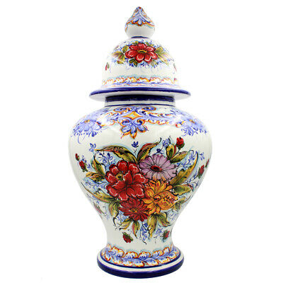 Hand-painted Decorative Traditional Portuguese Ceramic Large Vase With Lid #610