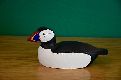 Cute Hand-Carved Small Alaska Puffin Carving Solid Wood - Attractive - Decoy Ex+