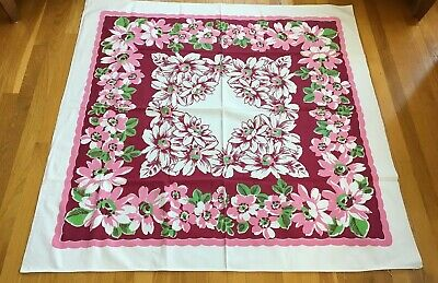 Vtg Tablecloth wine pink white floral green leaves  Wilendur weight 49 x 49