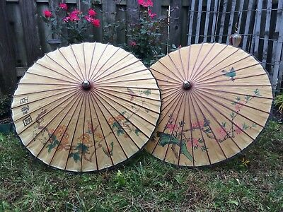 Two Vintage Japanese Or Chinese Oriental Asian Rice Paper Parasol Umbrellas Wow