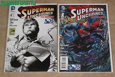 Superman Unchained #1 DC New 52 SDCC B/W Sketch Variant + 1st Print Jim Lee NM