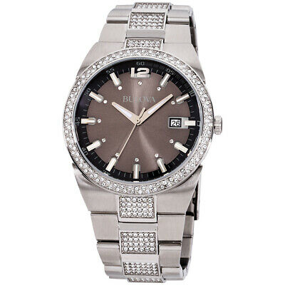 Bulova Crystal Anthracite Dial Stainless Steel Men's Watch 96B221