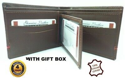 Men's Real Cowhide Genuine Leather Wallet Brown Long Coin Pocket 4 Year Warranty