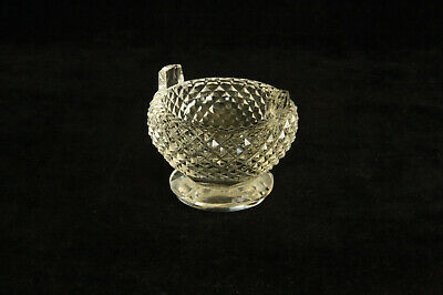 Unusual Vintage Cut Glass Round Diamond Point 2 Handled Open Salt Cellar Dip