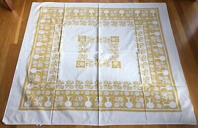 Vtg Startex Tablecloth w tag lavender and gold & off white floral white pitcher