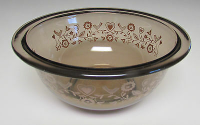 PYREX NESTING BOWL VISIONS SMOKE GLASS BIRDS HEARTS FLOWERS 1 L 3 1/2 Cups 7 X 3