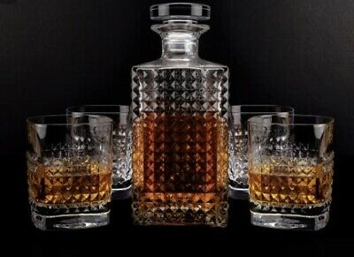 Vintage Scotch Whiskey Decanter Glass 850ml Set of 5 Pieces Bottle Tumbler