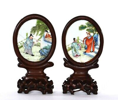 Pair 1930's Chinese Famille Rose Porcelain Plaque Mini Screen Scholar Wood Frame
