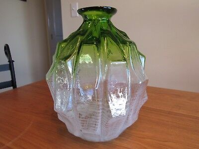 Vintage Hand Blown Glass Green/ White Swirl  Art Glass Vase; Unique