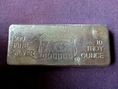 Ultra Rare A.G.S. Shield Old Pour 10 Troy Oz. .999 Fine Silver Bar Numbered