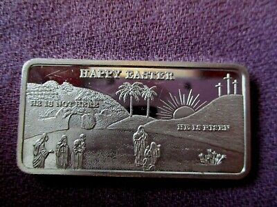 Happy Easter Beautiful Details Ultra RARE 1 Troy Oz. .999 Fine Silver Art Bar