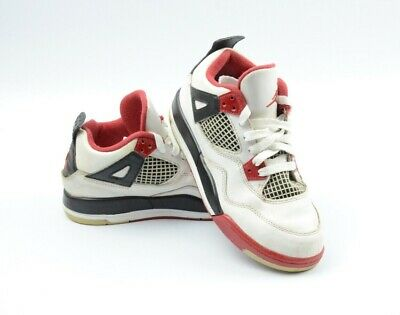 c59d478d87b5 Nike Air Jordan 4 Retro Youth Size 2Y Basketball Sneakers White Red 308499- 110