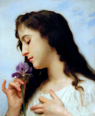 Stunning Oil painting Bouguereau - Young beauty girl - The Iris flowers canvas