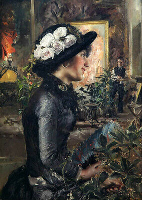 Oil painting Antonio Mancini - Nice young lady wearing black hat & white flowers