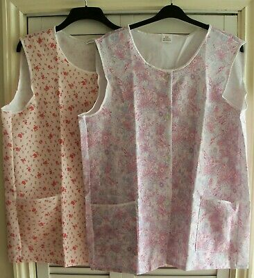 """2 LADIES FLORAL TABARDS/OVERALLS CLEANING APRONS, SIZE 48""""(122cm) CHEST (NEW)"""