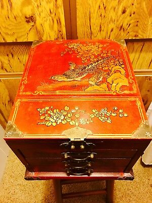 Vintage Chinese Make Up Jewelry Box With 3 Drawers Built In Mirrors