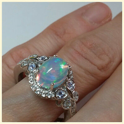 Ethiopian Welo Opal Tanzanite Ring Sterling Silver 925 size 5 6 7 8 options