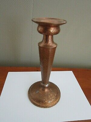 Arts & Crafts style Copper Candle Stick Marked Jos. Heinrichs