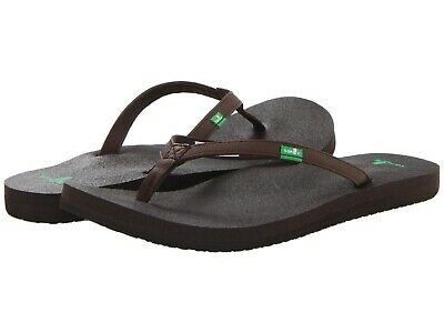 30771f495 Sanuk Joy Yoga Mat Women Flip Flops Vegan Vegetarian Sandal Brown Size 7