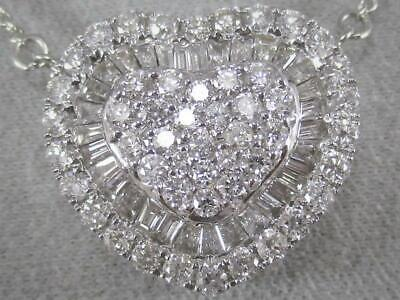"Modern .82Ct Pave Diamond 18K White Gold Heart Cluster Halo Necklace 17"" N9085Wm"