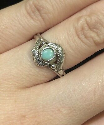 925 Sterling Silver Turquoise Feather Ring Handcrafted Petite