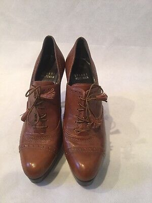 a7938b03c5 STUART WEITZMAN High Heeled Tie WingTip Oxford Leather Womens Shoe-Brown  Size 6M