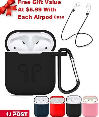 Shockproof Apple Airpods case Cover Skin Anti Lost Strap +Holder Charging Airpod