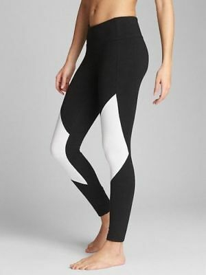 08a115a244 NEW Gap GapFit gFast Leggings Pants Performance Cotton Black w White XS 2  NWT