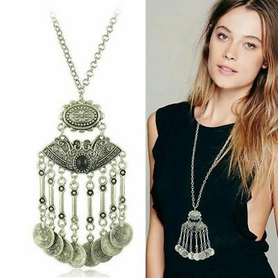 Boho Pendant Coin Tassel Necklace Bohemian Ethnic Tribal Gypsy Coachella Jewelry