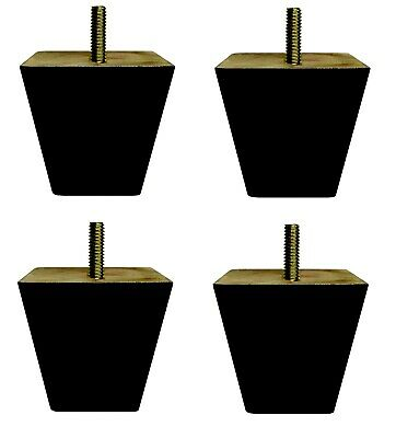 4x Wooden Furniture Feet Legs For Sofa, Beds, Chairs, Stools, Table Black Finish