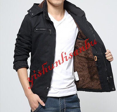 Winter Mens Hooded Warm Jackets Parka Outerwear Fur Lining Thicken Long Coats AU