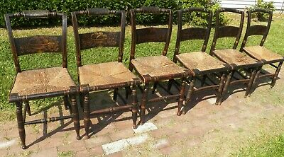 6 Antique Rush Seat Decorated Chairs Stenciled paint 3 & 3