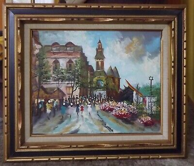 Gorgeous surrealist street scene oil painting on canvas framed. GREAT COLORS!