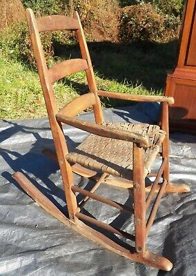 Shaker Antique Rocker Ladder Back Rocking Chair Very Early Maple & Ash wood