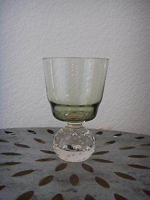 Carl Erickson Art Glass Sage Green Goblet Controlled Bubble Ball Base Glasses