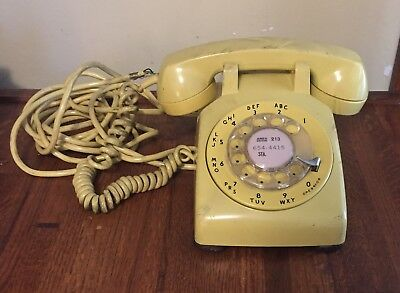 Vintage Rotary Dial Phone Desk Western Electric Pale Yellow Bell System (3)