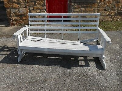 Rare Antique Free Standing Porch/Patio/Yard Wood&Chain Glider/Swing Bench