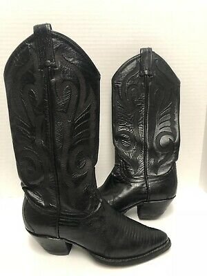 8e043db0321 HYER VTG WOMENS BEAUTIFUL EXOTIC BLACK LIZARD Western BOOTS ~ Lovely Pair!  6M