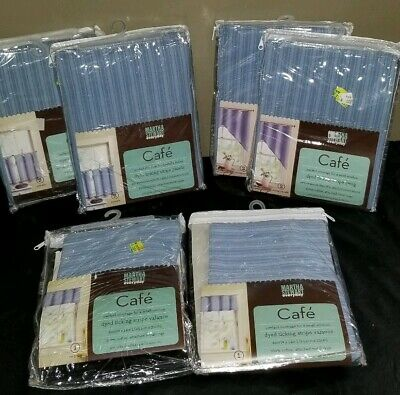 New Martha Stewart Blue Dyed Ticking Cafe Curtains Swags Valances 6pc Nip 21 00 Picclick