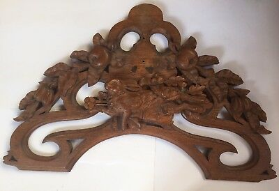 """Antique Black Forest Architectural Wood Panel    Wall Mount With Rabbit   35"""""""