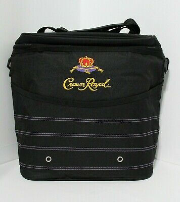 Crown Royal Insulated Soft Sided Cooler Tote Black & Purple Carrying Bag Strap